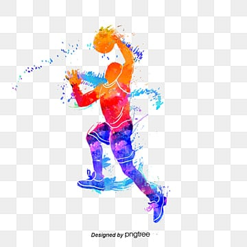creative and colorful silhouettes of basketball players, Multicolored, Sports, Bodybuilding PNG and PSD
