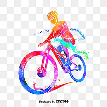 Creative and colorful silhouettes of cyclists, Multicolored, Character, Sports PNG and PSD