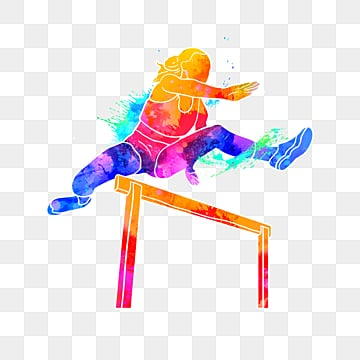 Creative and colorful silhouettes of Hurdlers, Multicolored, Character, Sports PNG and PSD
