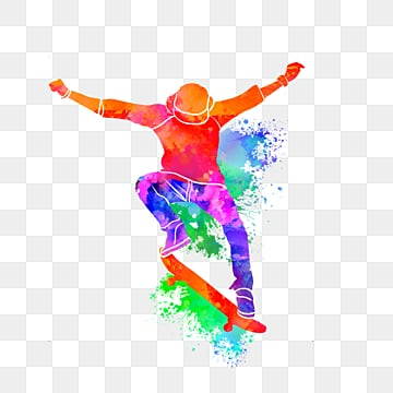 creative and colorful skateboarders silhouette, Multicolored, Sports, Bodybuilding PNG and PSD