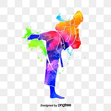creative silhouette of taekwondo dazzling athletes, Multicolored, Character, Sports PNG and PSD