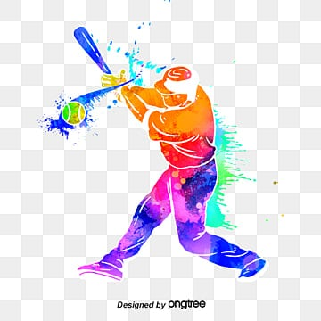 creative silhouettes of brilliant baseball players, Multicolored, Character, Sports PNG and PSD