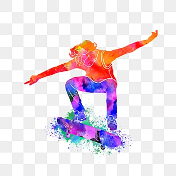 creative silhouettes of street skateboarders, Multicolored, Sports, Bodybuilding PNG and PSD