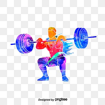 Creative silhouettes of Weightlifters, Weightlifting, Multicolored, Character PNG and PSD