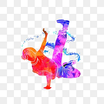 silhouette of creative colorful hip hop dancers, Multicolored, Sports, Bodybuilding PNG and PSD