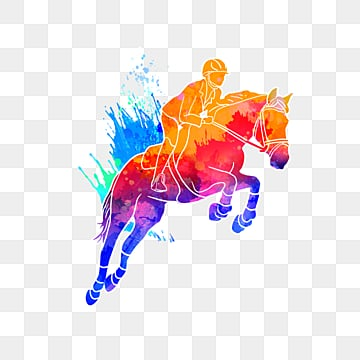 Silhouette of Creative Equestrian Athletes, Multicolored, Character, Sports PNG and PSD