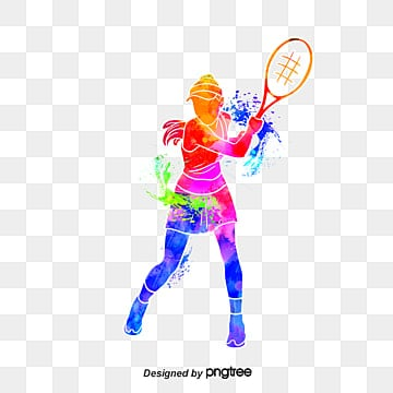 silhouette of creative tennis players, Multicolored, Character, Sports PNG and PSD