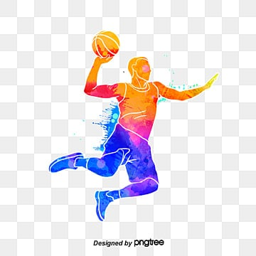 silhouettes of creative basketball players, Multicolored, Character, Sports PNG and PSD