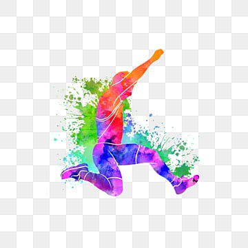 Silhouettes of Creative Colorful Long Jumpers, Multicolored, Sports, Bodybuilding PNG and PSD