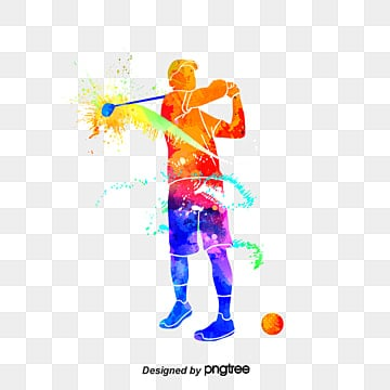Silhouettes of Creative Golf Players, Multicolored, Character, Sports PNG and PSD
