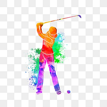 silhouettes of creative golf players, Multicolored, Sports, Bodybuilding PNG and PSD