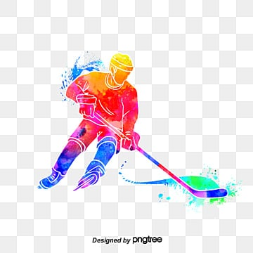 Silhouettes of Creative Ice Hockey Players, Multicolored, Character, Sports PNG and PSD