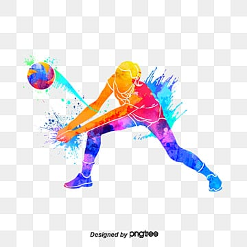 silhouettes of creative volleyball players, Multicolored, Character, Sports PNG and PSD