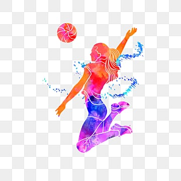 silhouettes of creative volleyball players, Multicolored, Sports, Bodybuilding PNG and PSD