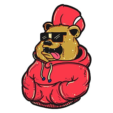 bear wearing a hoodie, Psd File, Psd, Clothingline PNG and PSD