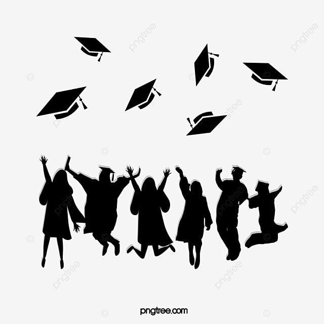 Simple Graduates Throwing Black Silhouettes Of Bachelors