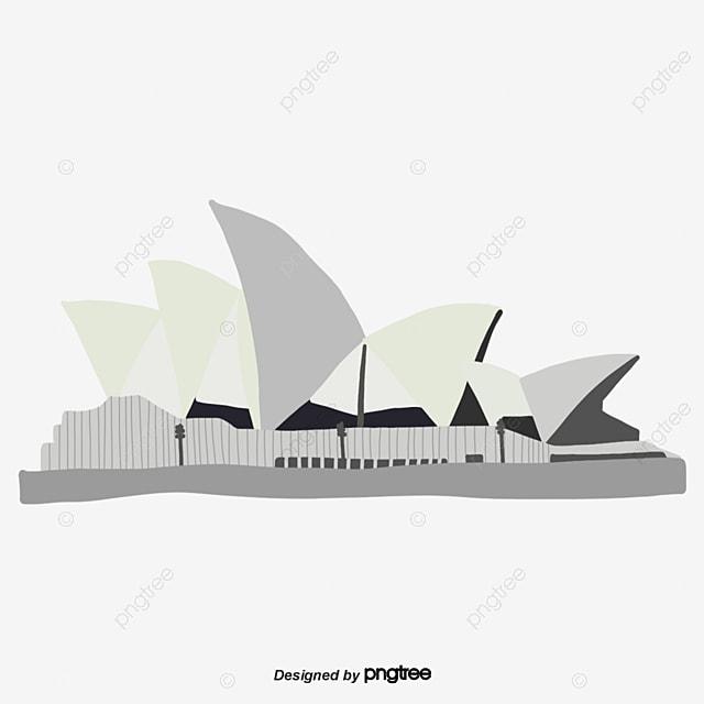 pngtree cartoon gray sydney opera house scene png image 867300 - Get Sydney Opera House Cartoon Image  Pictures