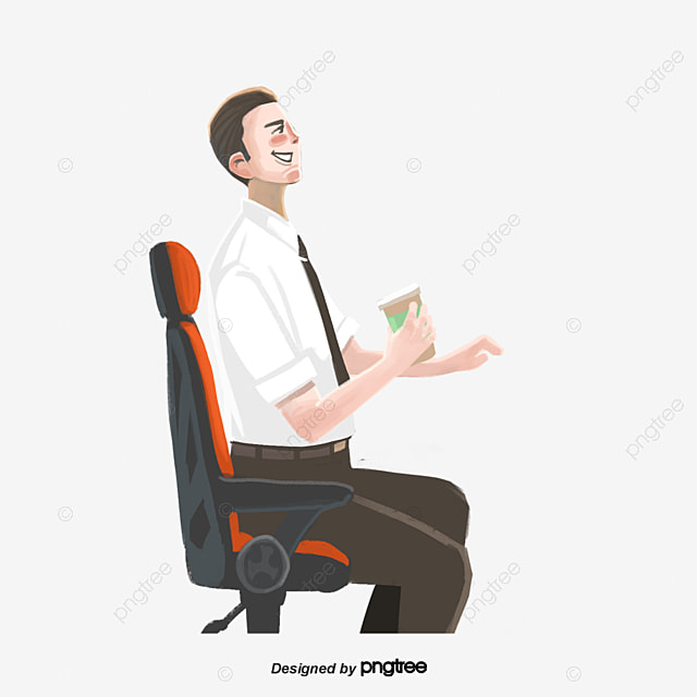 Pleasant A Man Sitting In An Office Chair Drinking Tea Character Download Free Architecture Designs Scobabritishbridgeorg