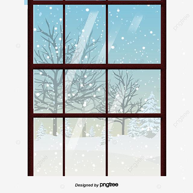 The Scenery Outside The Window Was Snowy Winter Bedroom Kitchen