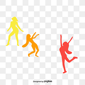 dancing and cheering silhouettes of young women, Element, Silhouette, Taiwan Youth Day PNG and PSD
