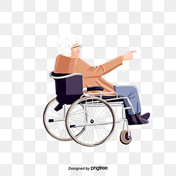 白髪のおばあさん車椅子の老人, 養老院, イラスト, 養老院 PNGとPSD
