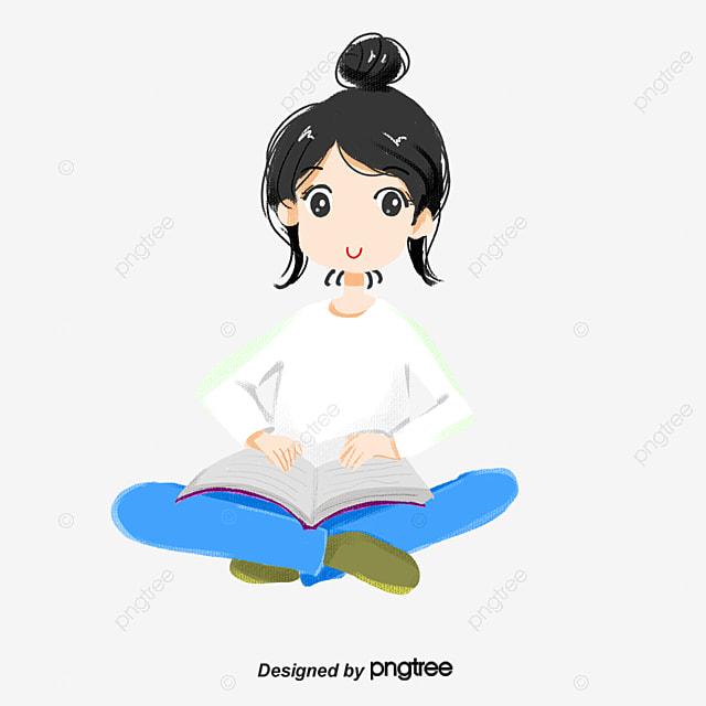 Dessin Anime Fille Lire Livre Assis Livre Style Assis