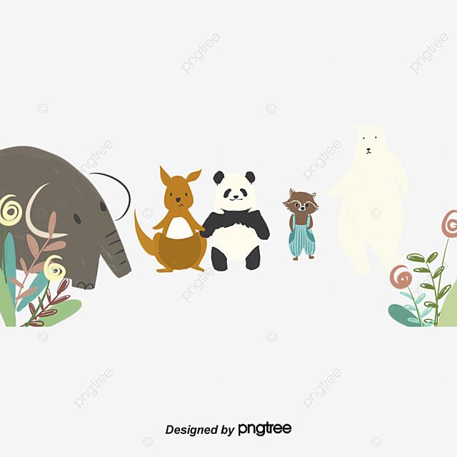pngtree elephant panda polar panda plant squirrel animal png image 881403