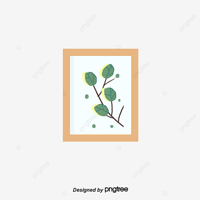 Green Plant Frame Wall Painting Wall Painting Mural Illustration