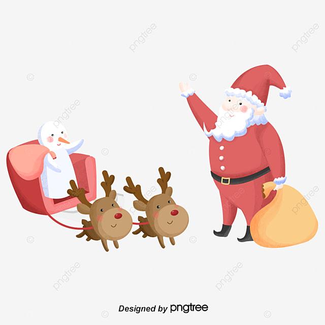 Santa Claus Presents Snowman For Christmas Bye Winter
