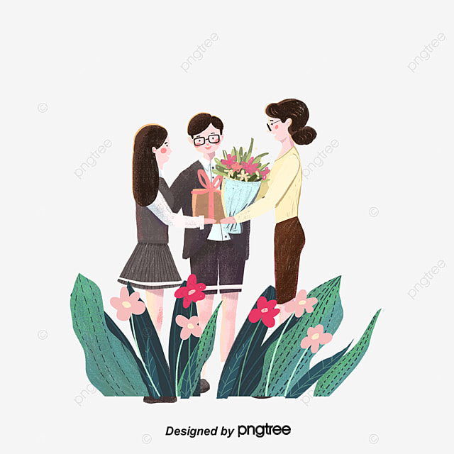 Young Schoolgirl With Flowers. The Girl Is Very Nice, She Has A Good Mood,  A Smile. The Lady Will Give The Bouquet To The Teacher Illustration Stock -  Illustration du nice, mood