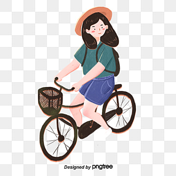 girls ride bicycles in summer, Bag, Vehicle, Walking Tool PNG and PSD