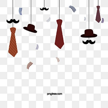 Cartoon Fathers Day Hanging Tie Elements, Cartoon Style, Hanging, Hat PNG and PSD