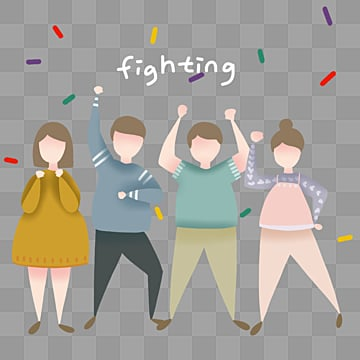 simple team refueling fighting element, Fighting, Come On., Cartoon PNG and PSD