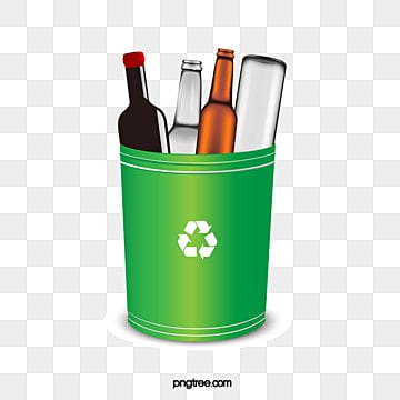 Three dimensional gradient green environmental glass waste recycling bin, Recovery, Trash, Waste PNG and PSD