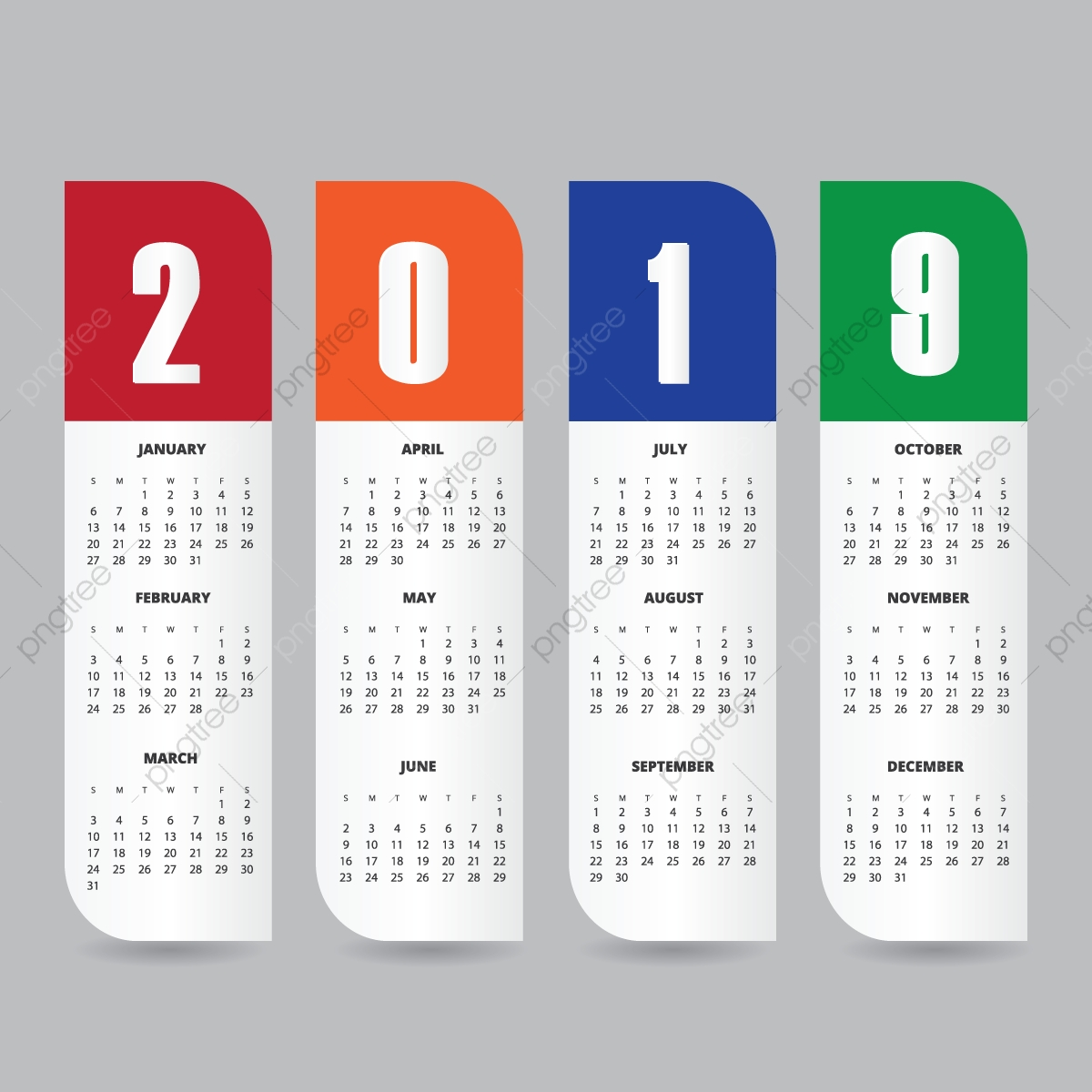 2019 calendar design template  calendar  new  planner png and vector with transparent background