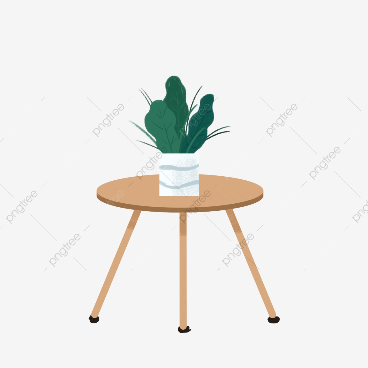 Un Design De Plante En Pot Sur Une Table Dessin Animé Avec