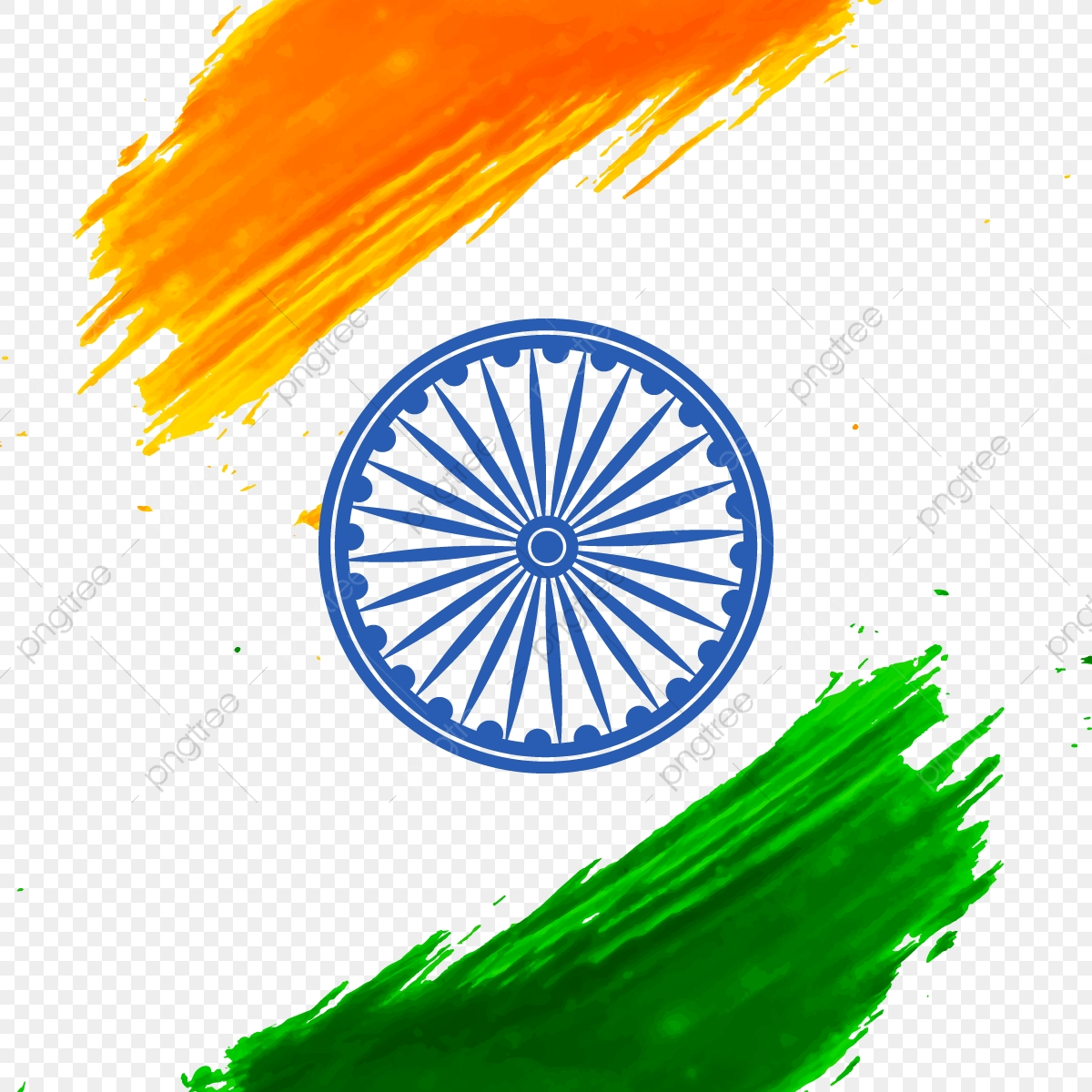 Abstract Of India Independence Day With Ashoka Chakra Abstract Card Flag Png And Vector With Transparent Background For Free Download