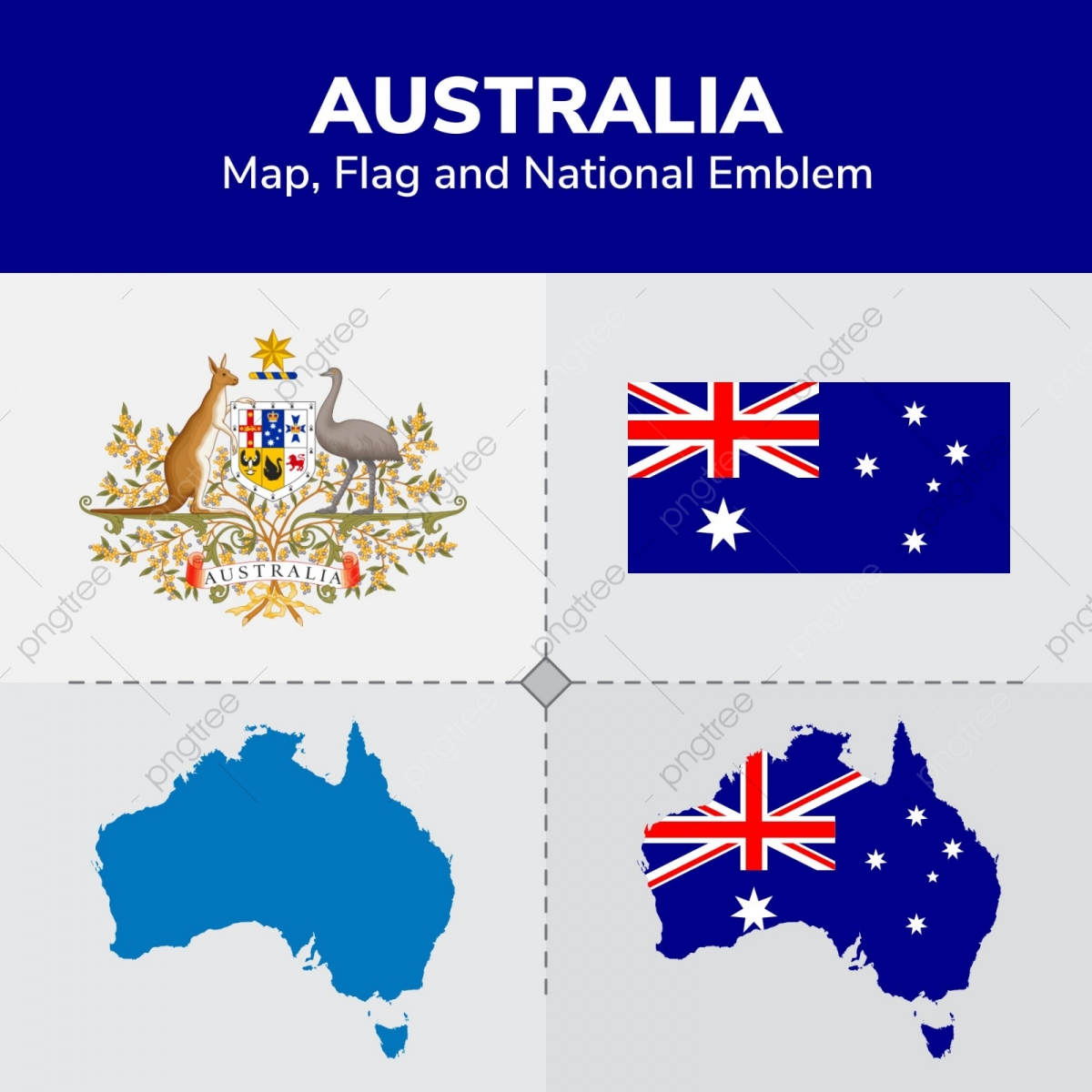 Australia Map And Flag.Australia Map Flag And National Emblem Continents Countries Map