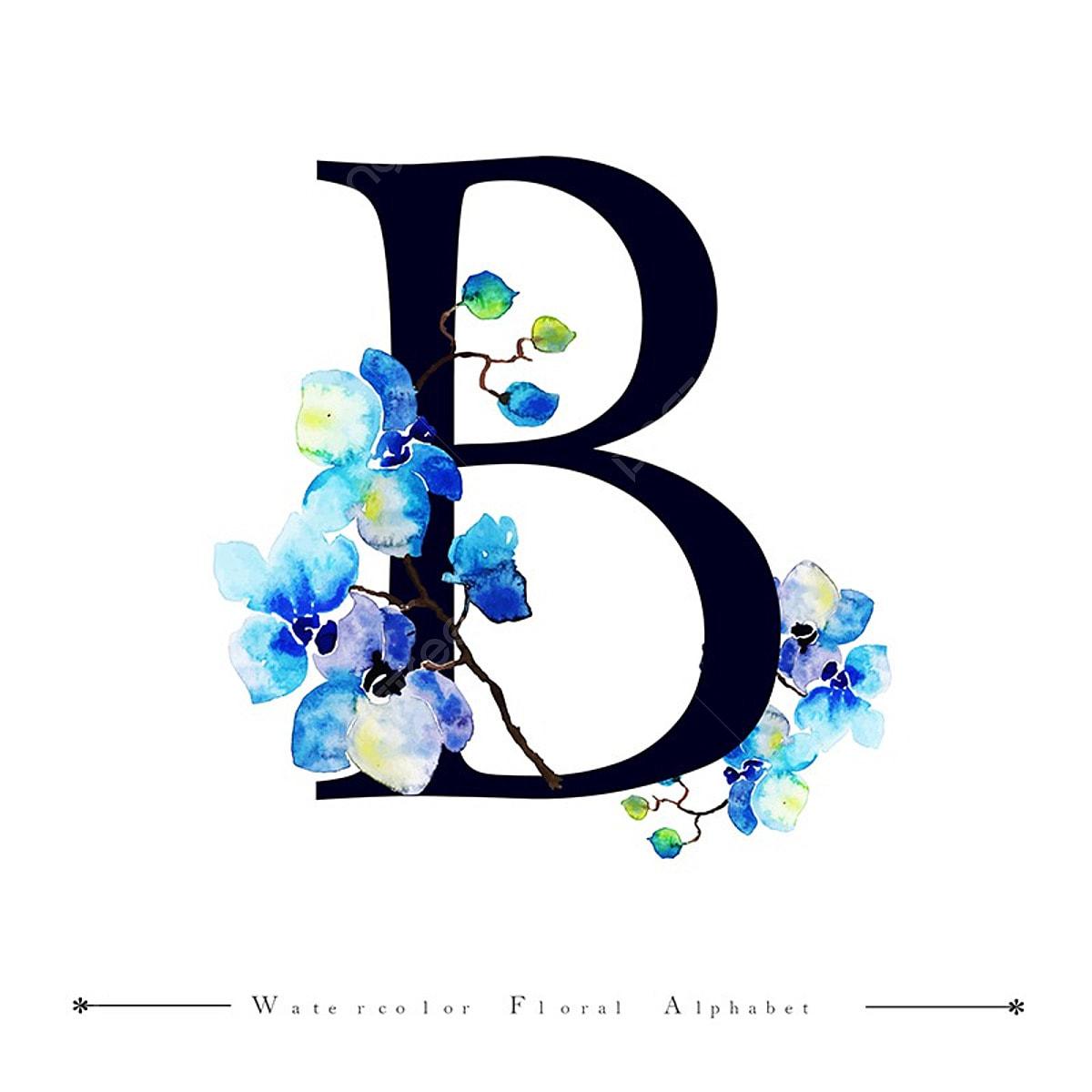 B Alphabet Letter Watercolor Floral Background, Watercolor