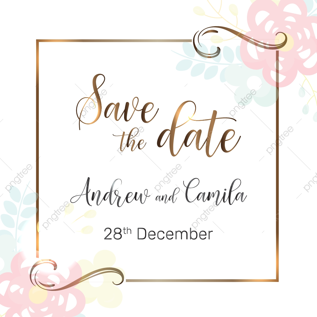 Beautiful Save The Date Wedding Invitation Template, Beautiful