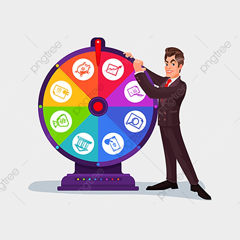 Business Man Spinning The Wheel Of Fortune, Wheel, Fortune