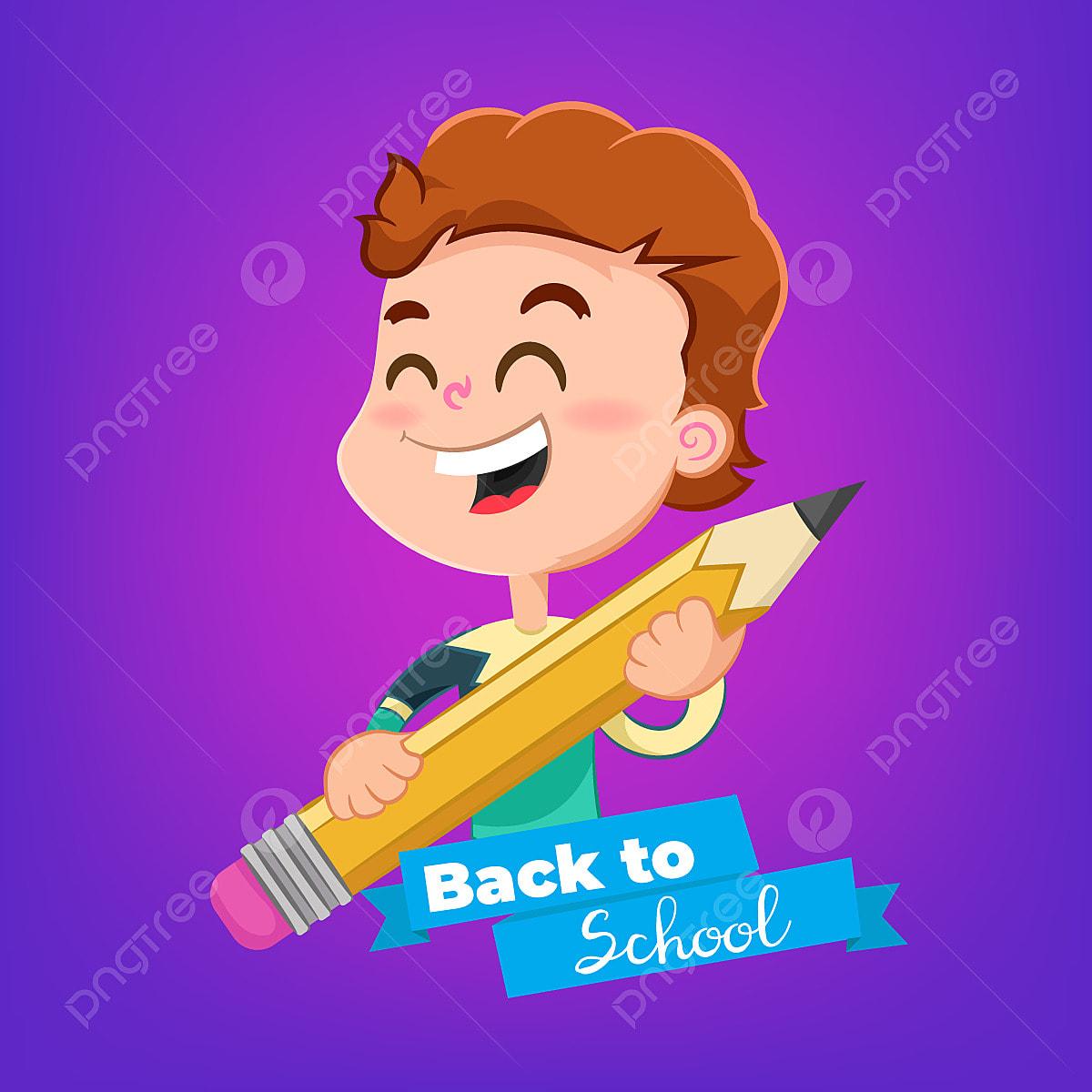 Kartun Anak Laki Laki Dengan Pensil Topik Kembali Ke Sekolah