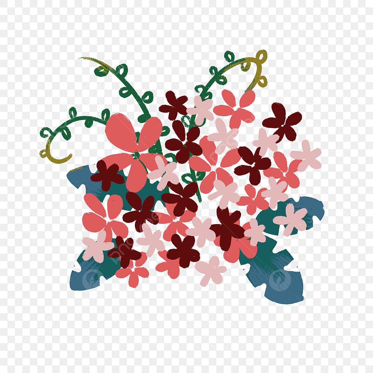 Dessin Animé Main Dessiné Fleurs Motif Floral élément De