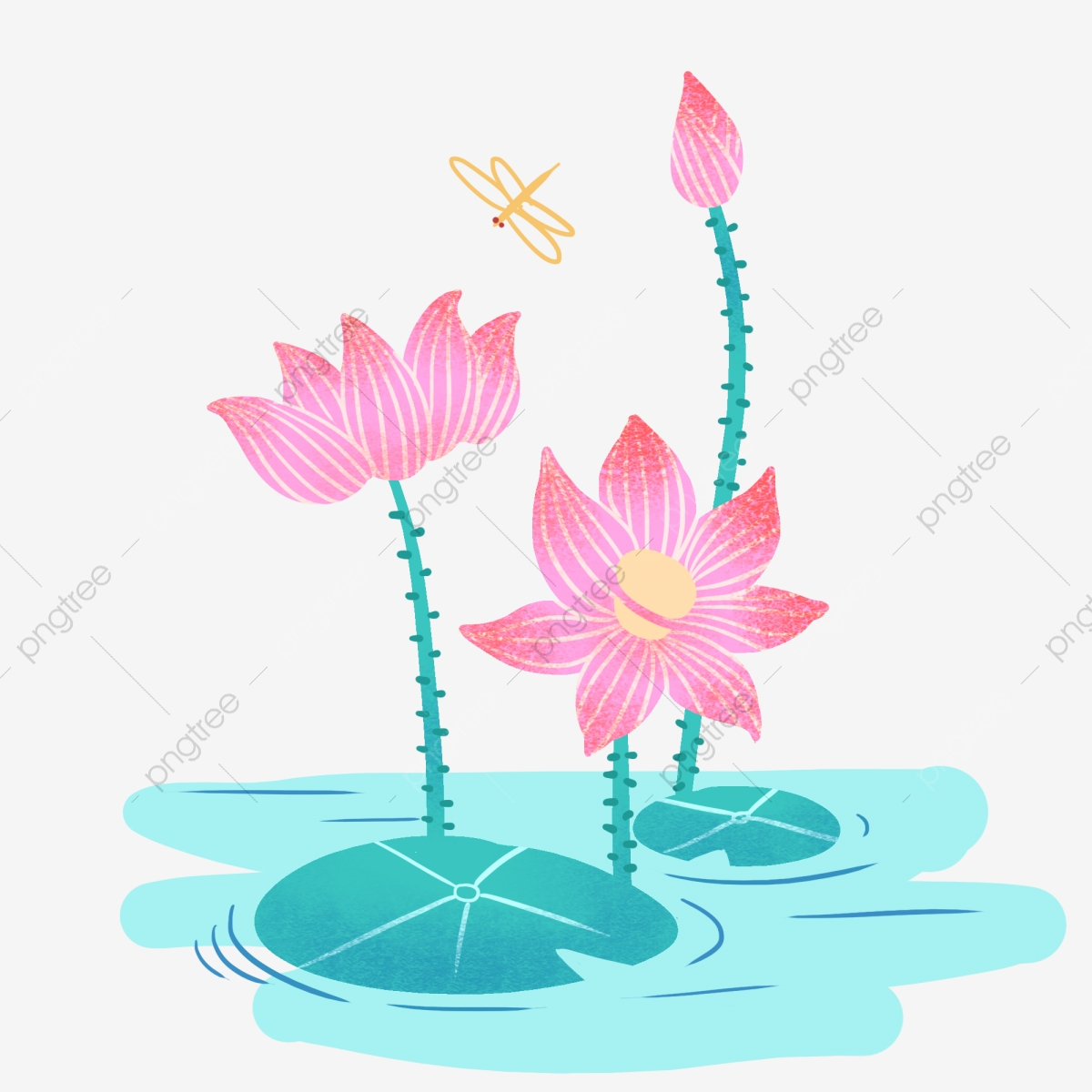 Cartoon Cute Hand Drawn Lotus Flower Bouquet Color Design Element