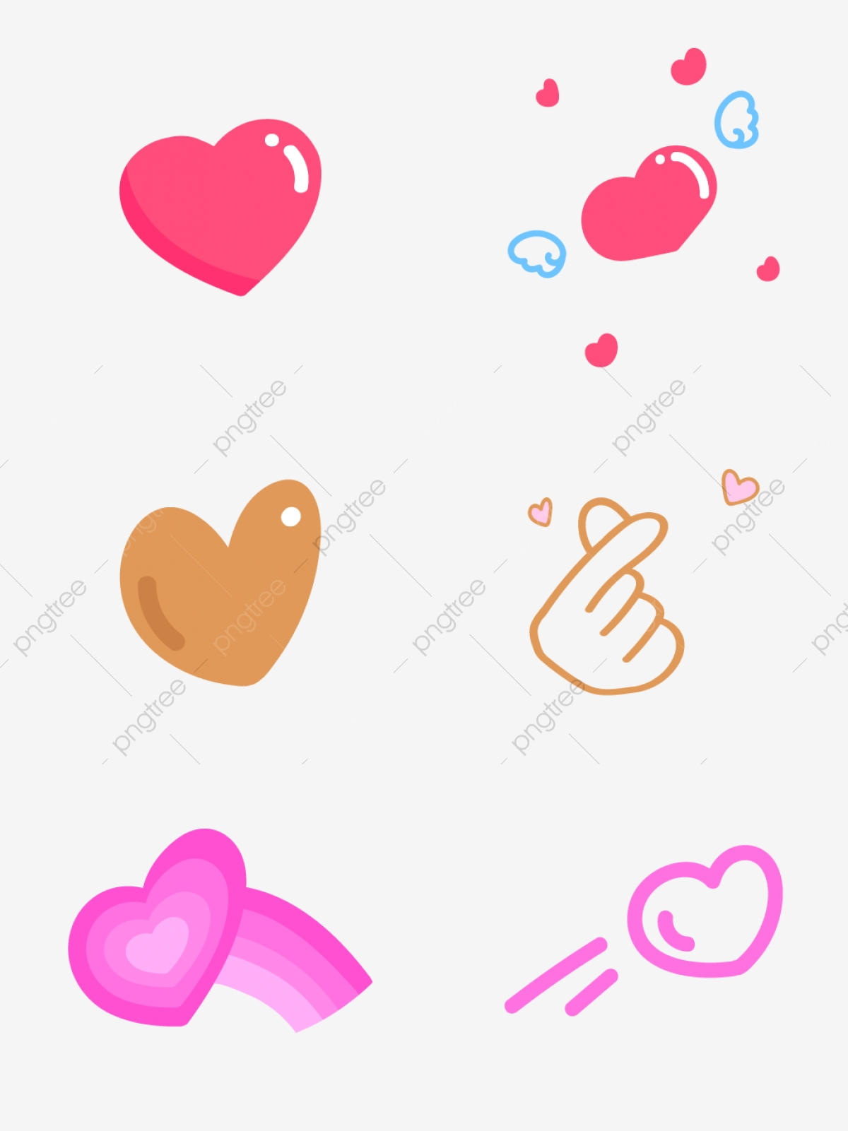 Cartoon Cute Valentine Love Sticker Decorative Element Love Heart Love Elements Png And Vector With Transparent Background For Free Download