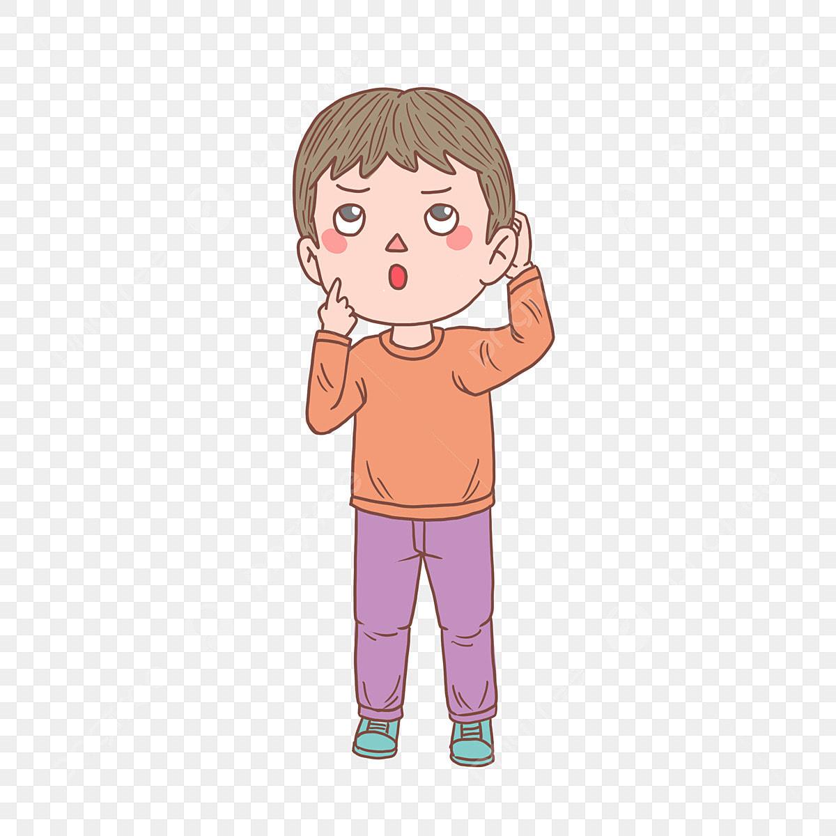 كارتون يد مرسومة بطبعها سؤال تفكير فتى الصبي المرسومة كرتون مرسومة باليد Png وملف Psd للتحميل مجانا