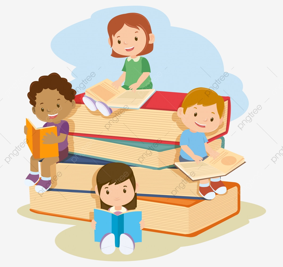 Children Reading Book Education School Kids Png And Vector With Transparent Background For Free Download