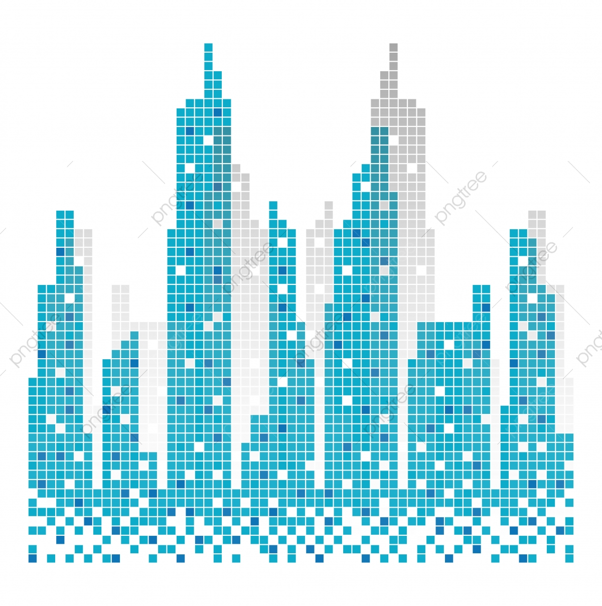 City Skyline Building Pixels Illustration Vector, Architecture, Skyline, Urban PNG and Vector ...