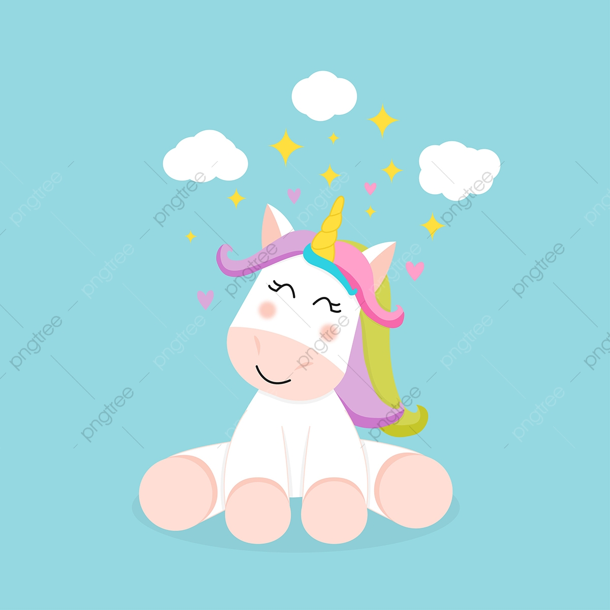 Cute Sitting Unicorn Vector Cute Clipart Unicorn Illustration Png And Vector With Transparent Background For Free Download