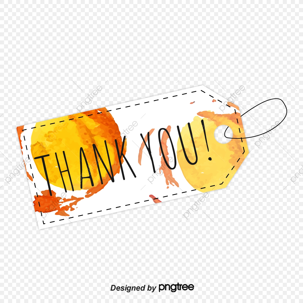 Design Of Orange Watercolor Label Thank You Font Ppt Mapping